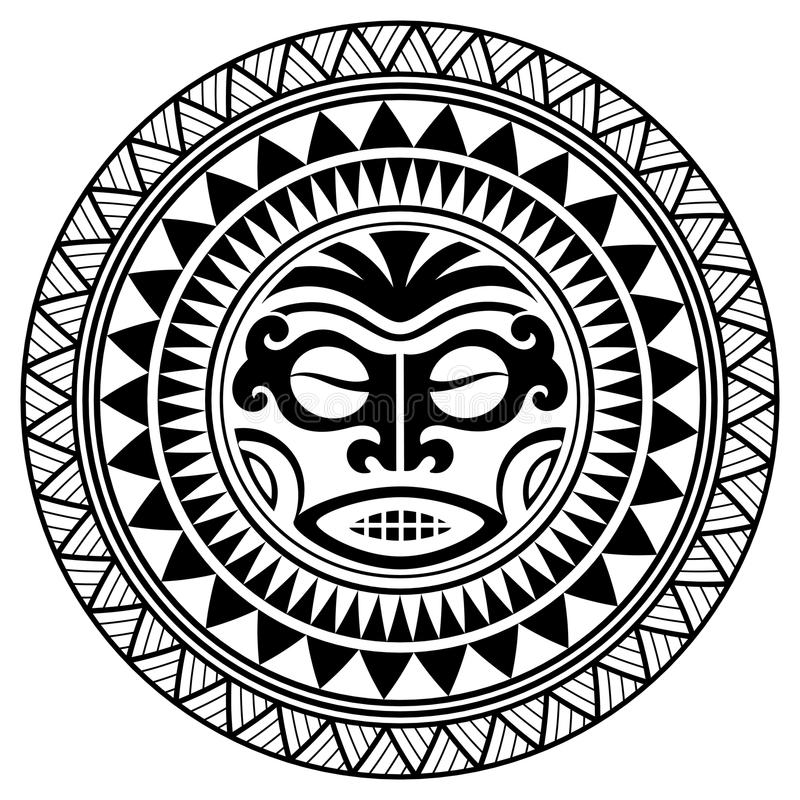 Masque polynésien de conception de tatouage Masques effrayants dans l'ornement indigène polynésien illustration stock