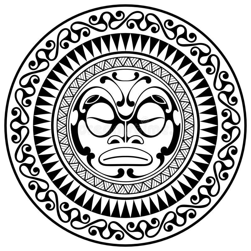 Masque polynésien de conception de tatouage Masques effrayants dans l'ornement indigène polynésien illustration de vecteur