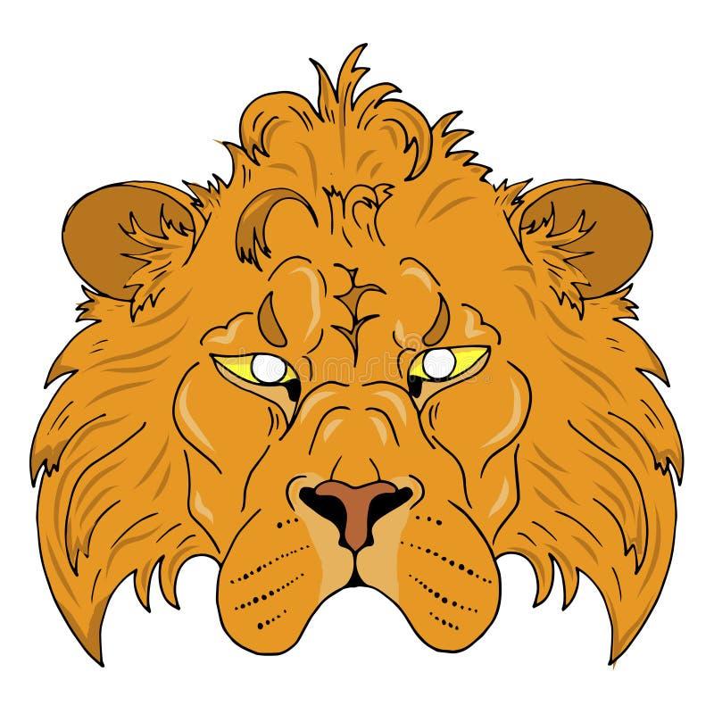 masque principal masculin de lion sur le fond blanc illustration stock