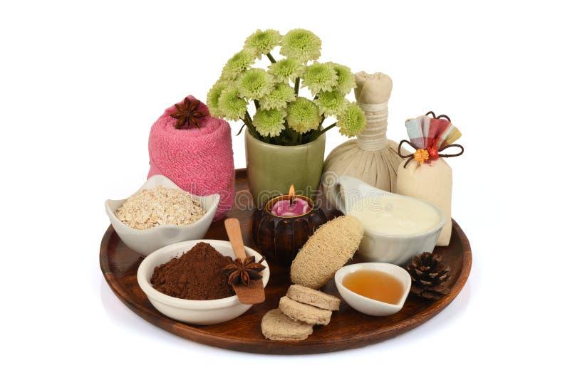 Masque protecteur avec la poudre de cacao, la farine d'avoine, le yaourt et le miel images libres de droits