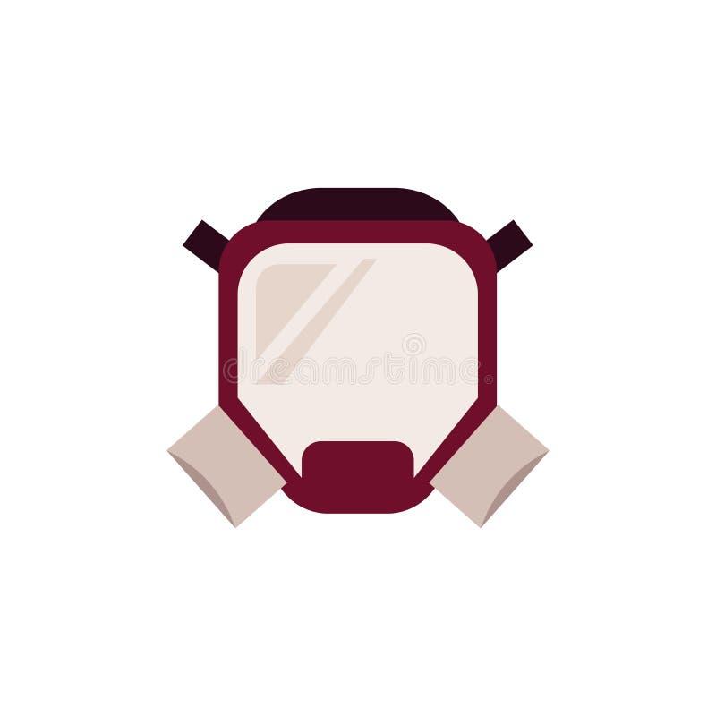 Masque protecteur de pompier avec le respirateur - uniforme de sapeur-pompier pour s'éteindre d'isolement sur le fond blanc illustration de vecteur
