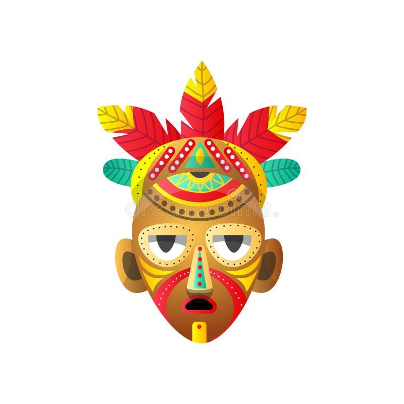 Masque rituel africain de totem avec l'élément rouge de plume et de points illustration stock