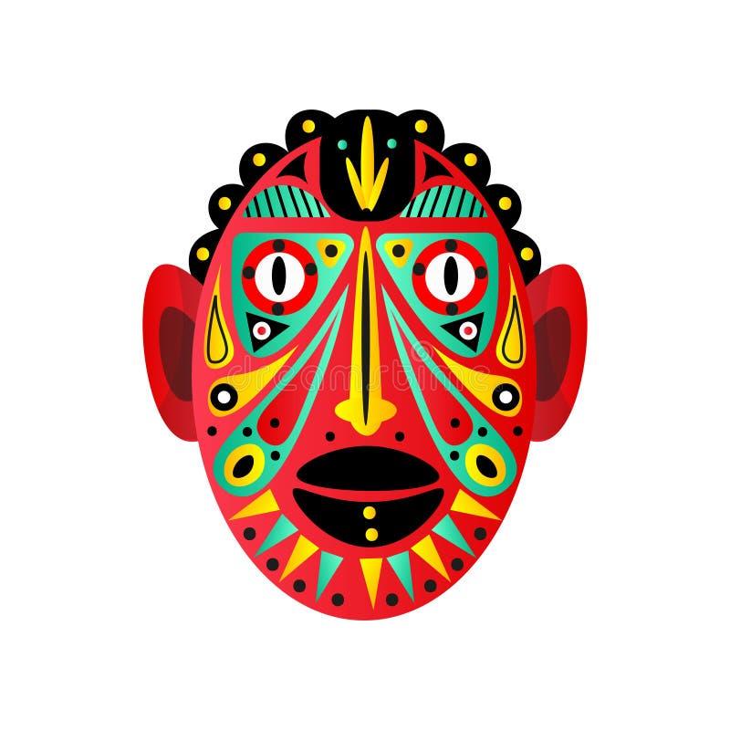 Masque rouge aztèque, avec les yeux ronds et l'élément ornemental illustration stock