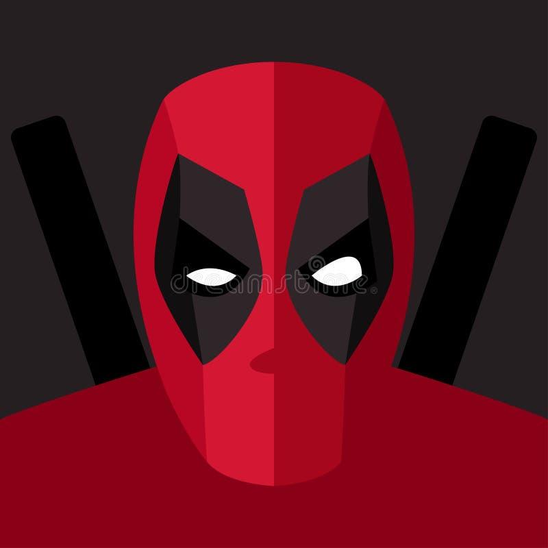 Masque rouge de superhéros pour le caractère de visage Masque de super héros illustration stock