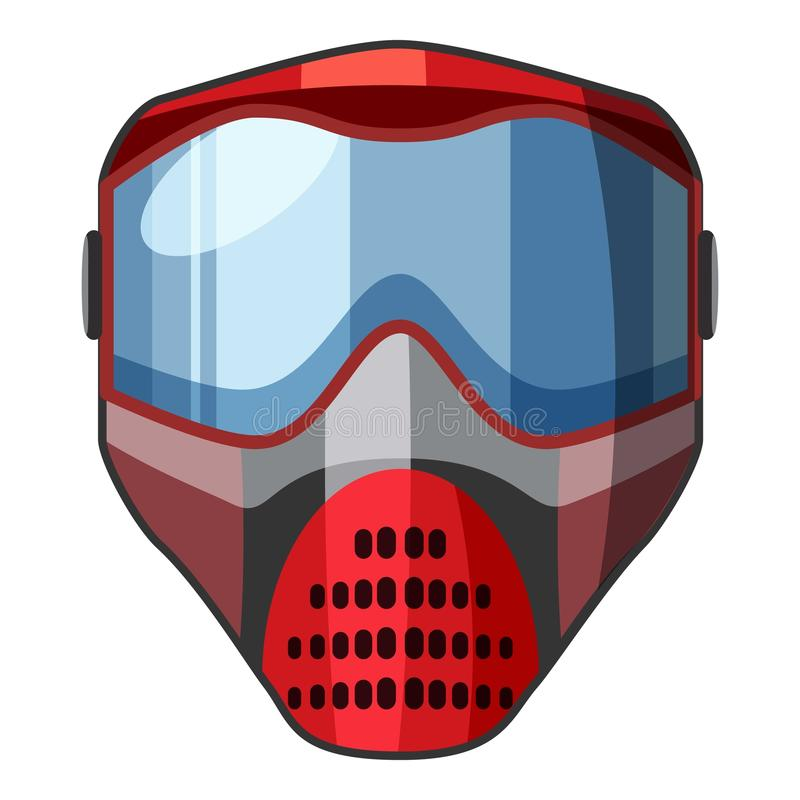 Masque rouge pour l'icône de paintball, style de bande dessinée illustration de vecteur