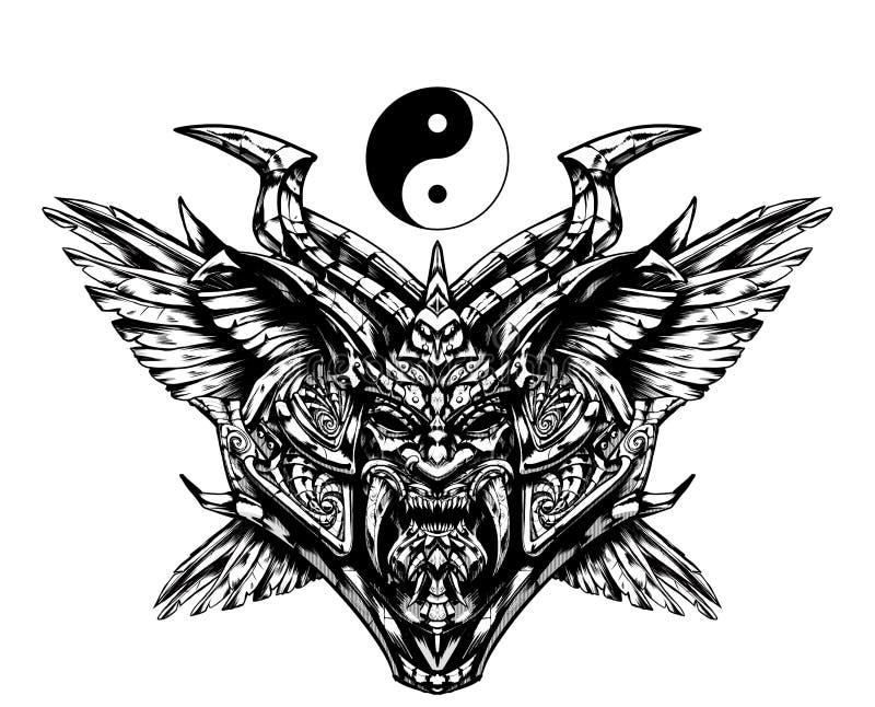 Masque samouraï sinistre illustration de vecteur