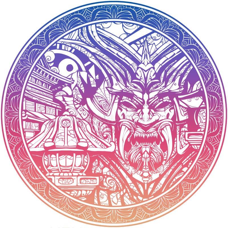 Masque samouraï sinistre avec des crocs illustration stock