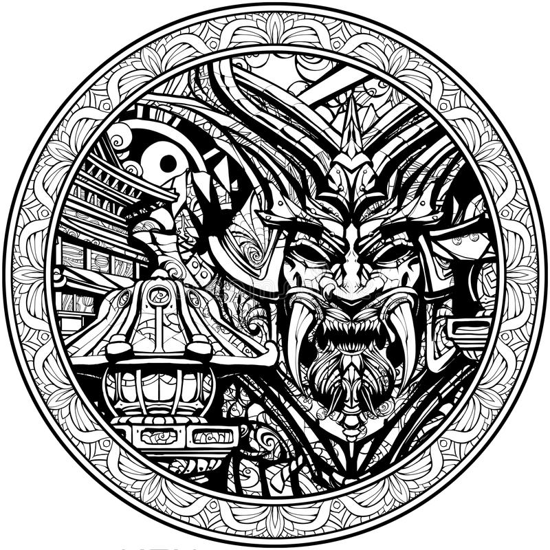 Masque samouraï sinistre avec des crocs illustration de vecteur