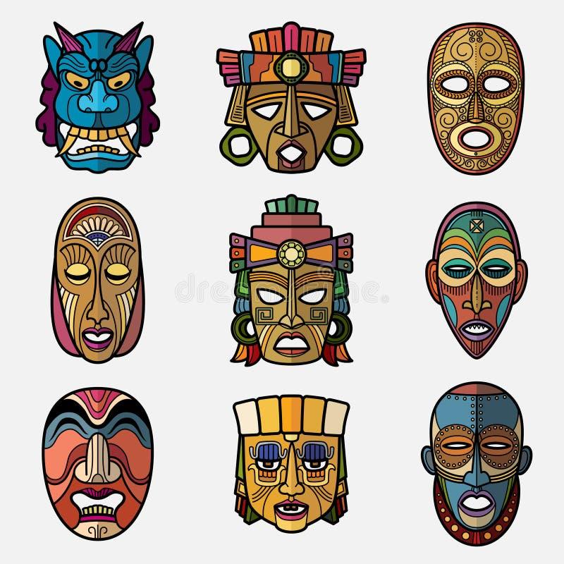 Masque tribal de vaudou africain de métier et totem sud-américain de culture d'Inca illustration libre de droits
