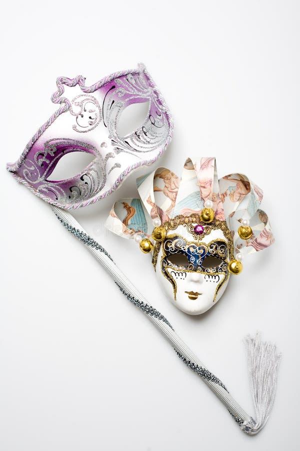 Masque vénitien du carnaval deux photos libres de droits