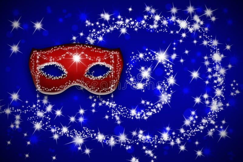 Masque vénitien rouge de carnaval sur un fond bleu image stock