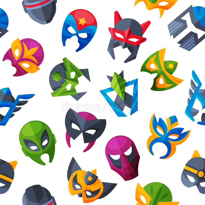 Masquen för framsidan för hjältemaskeringsvektorn och att maskera superheroen för illustrationen för tecknad filmteckenet ställde royaltyfri illustrationer