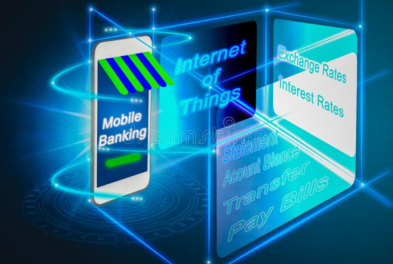 Masquer mobile futuriste pour l'avenir, exploit avancé de smartphones illustration libre de droits