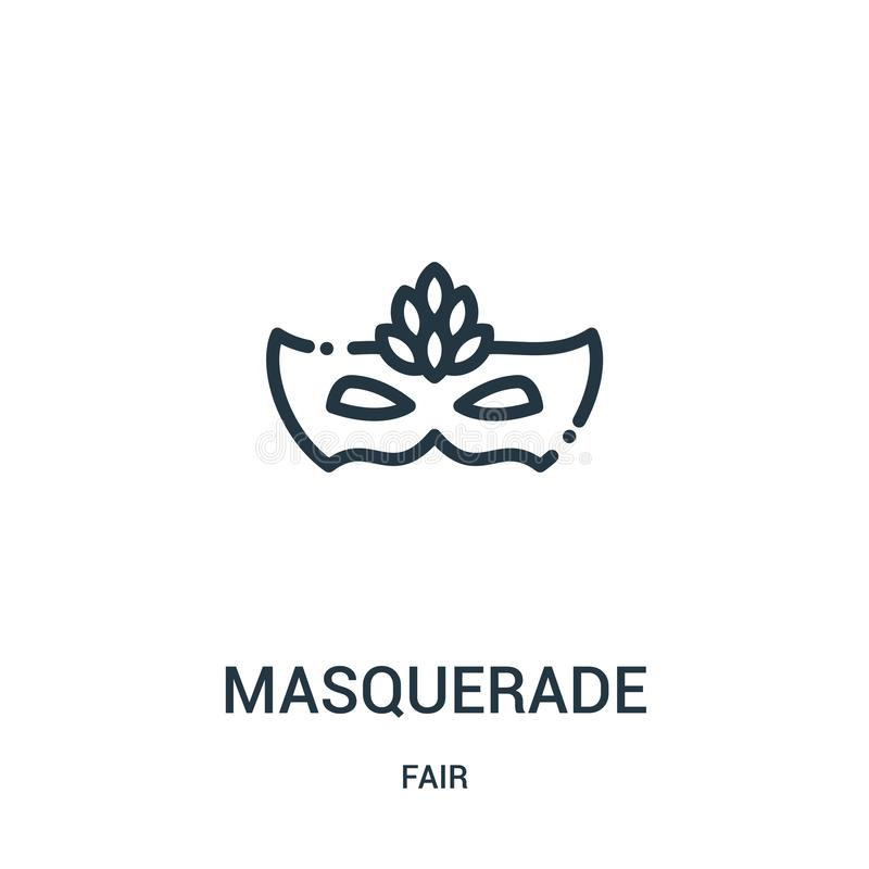 masquerade icon vector from fair collection. Thin line masquerade outline icon vector illustration. Linear symbol for use on web royalty free illustration