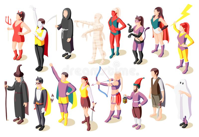 Masquerade Costumes Icons Set. Masquerade isometric icons set with people wearing costumes of mummy sage demon ghost superhero pirate gnome isolated vector vector illustration