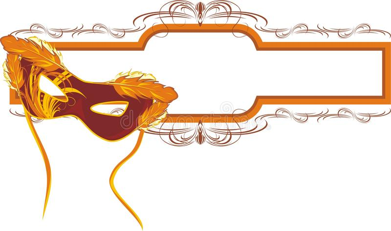 Masquerade mask and decorative frame royalty free illustration