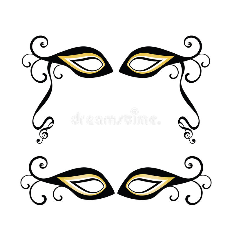 Masquerade masks. One with musical notes on end of ribbon - framing copyspace royalty free illustration
