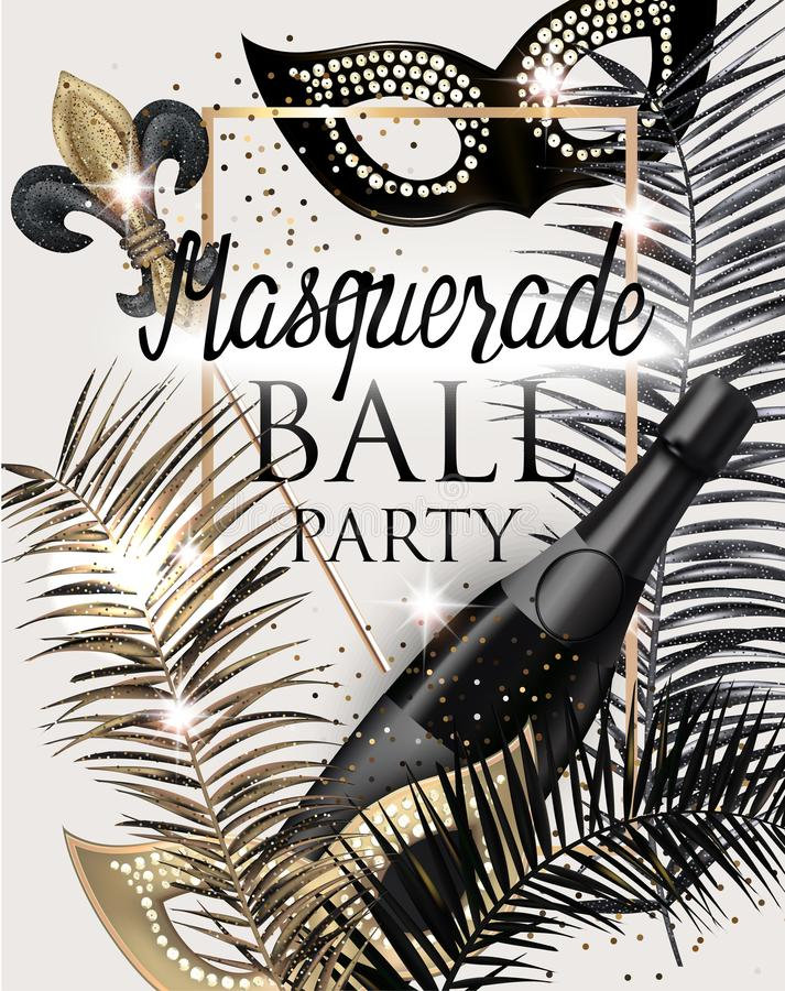 Free MASQUERADE PARTY INVITATION CARD WITH CARNIVAL DECO OBJECTS . GOLD, WHITE AND BLACK. Stock Image - 109004171