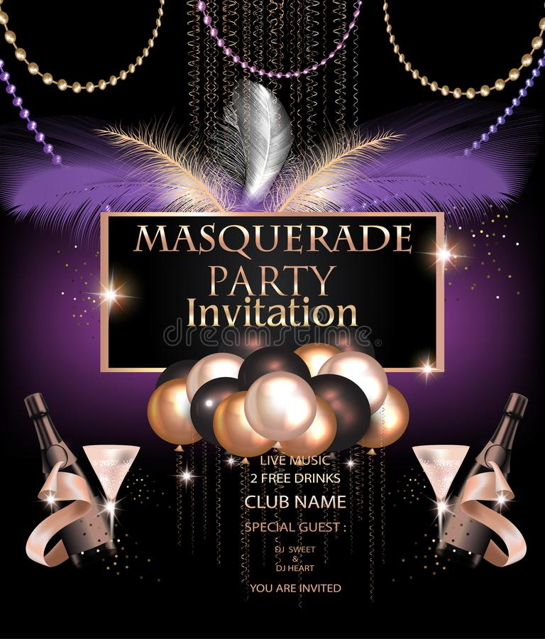 Free MASQUERADE PARTY INVITATION CARD WITH CARNIVAL PARTY DECO OBJECTS. Royalty Free Stock Image - 109328376