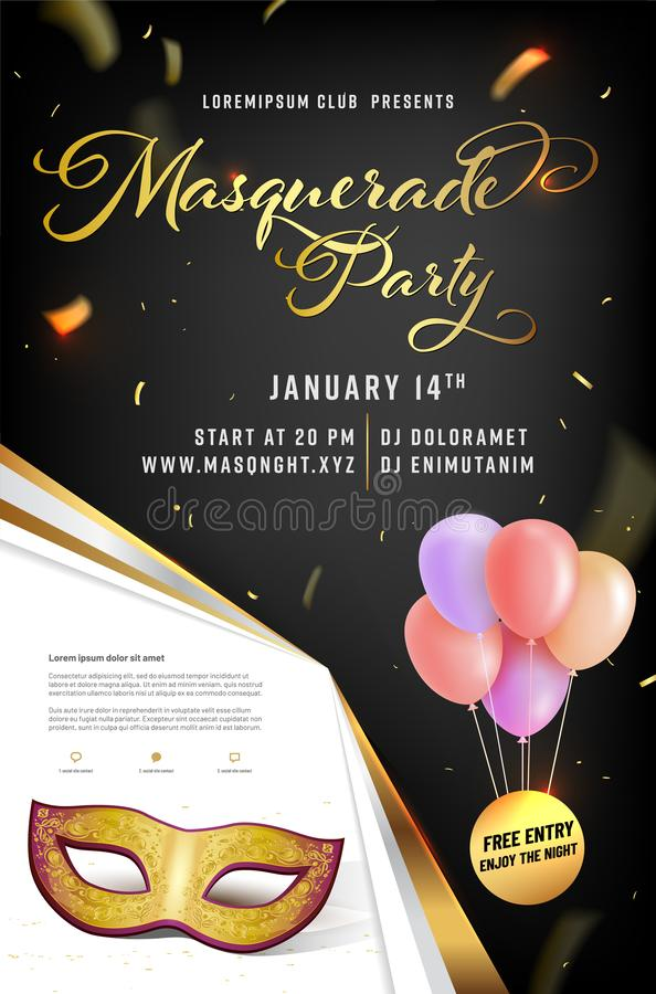 Masquerade party poster template with mask and air balloons royalty free stock images