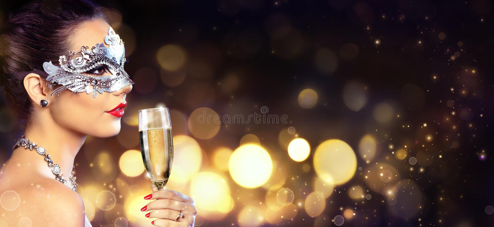 Masquerade Party - Sensual Woman With Mask. And Champagne stock photography