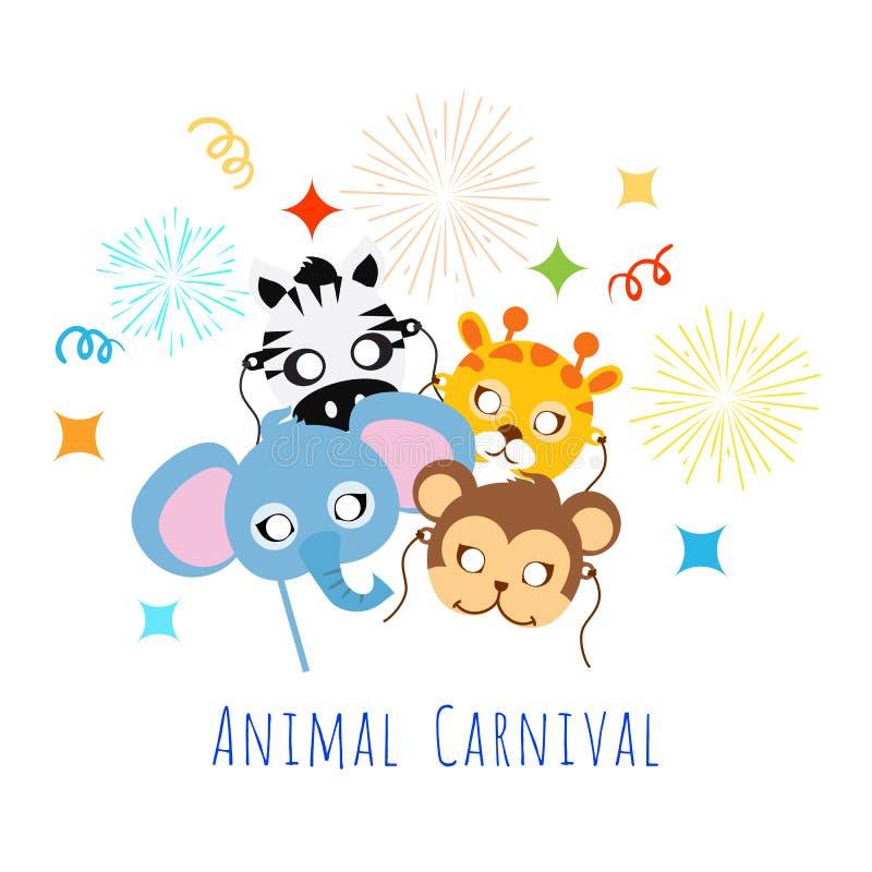 Masques animaux puérils Éléphant, zèbre, singe, girafe illustration de vecteur