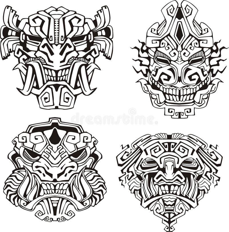 Masques aztèques de totem de monstre illustration de vecteur