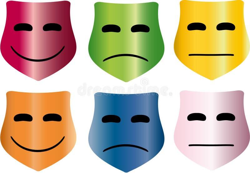 Masques colorés illustration de vecteur