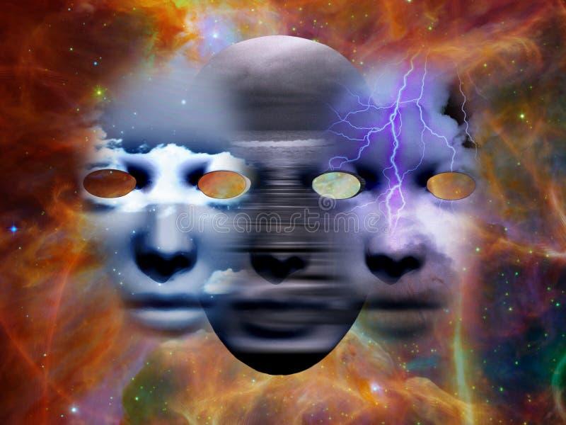 Masques dans l'espace illustration stock