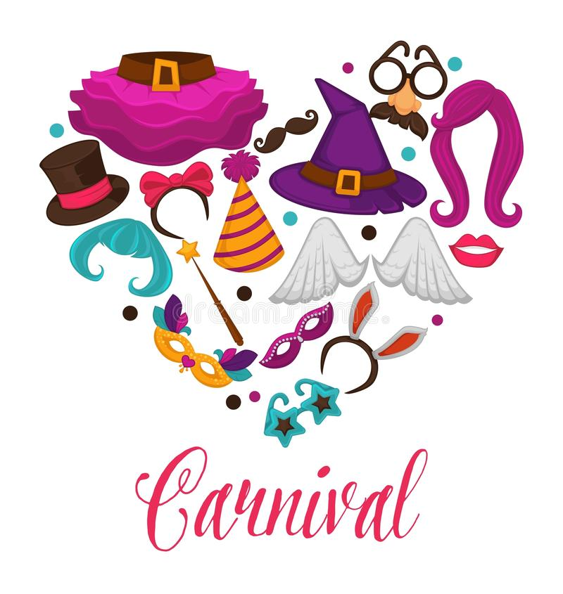 Masques de carnaval et affiche accessoire de coeur de vecteur de costume des icônes plates réglées illustration libre de droits