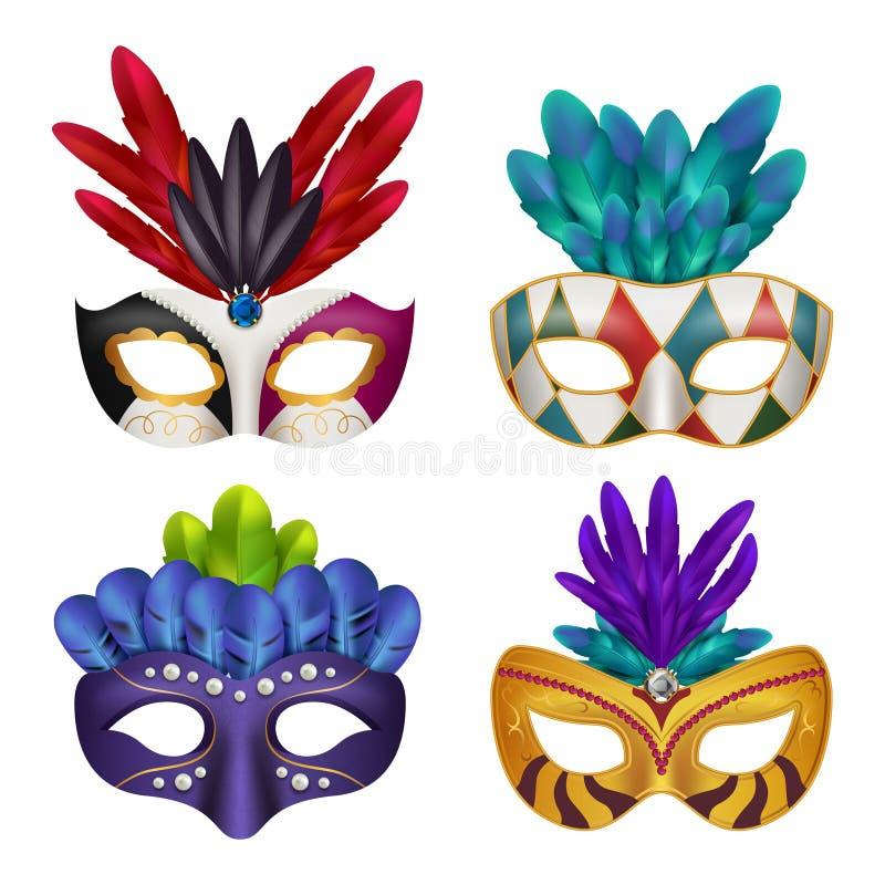 Masques de carnaval Images 3d réalistes de vecteur femelle masquées par célébration de partie de mascarade illustration de vecteur