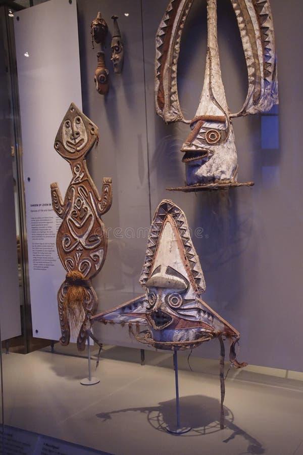 Masques de danse traditionnelle de la Papouasie, Nouvelle-Guin?e image libre de droits