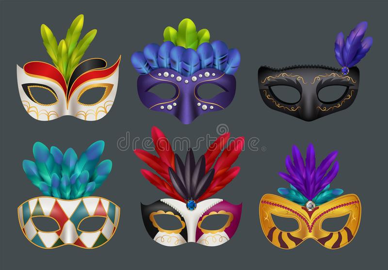 Masques de mascarade réalistes Illustrations réalistes masquées de vecteur de carnaval de partie de mode d'isolement illustration stock