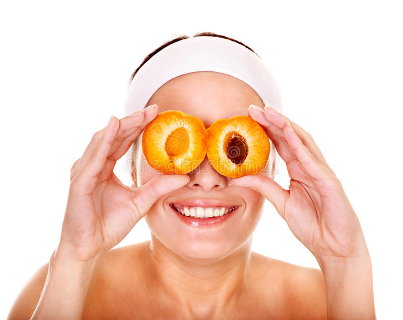 Masques de massage facial de fruit. image libre de droits