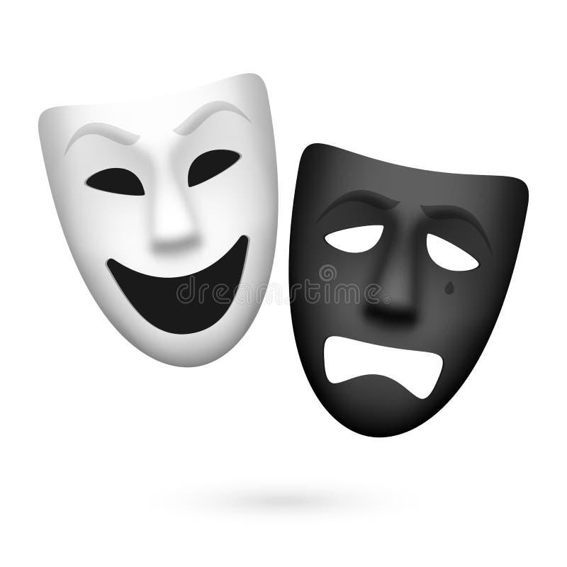 Masques de theatrical de comédie et de tragédie illustration libre de droits