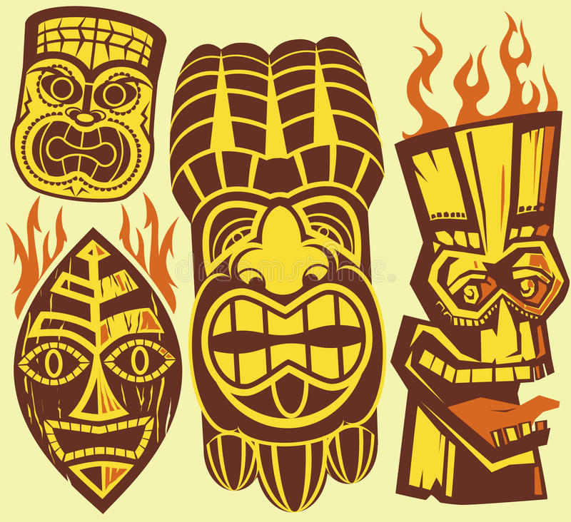 Masques de Tiki illustration de vecteur