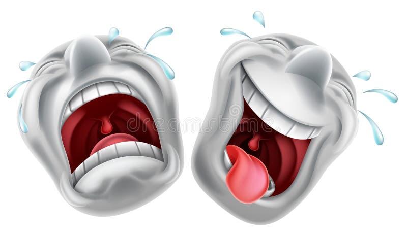 Masques de tragédie de comédie de théâtre illustration de vecteur