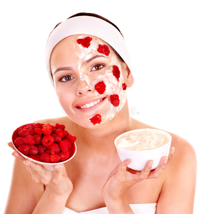Masques faits maison normaux de massage facial de fruit. photos stock