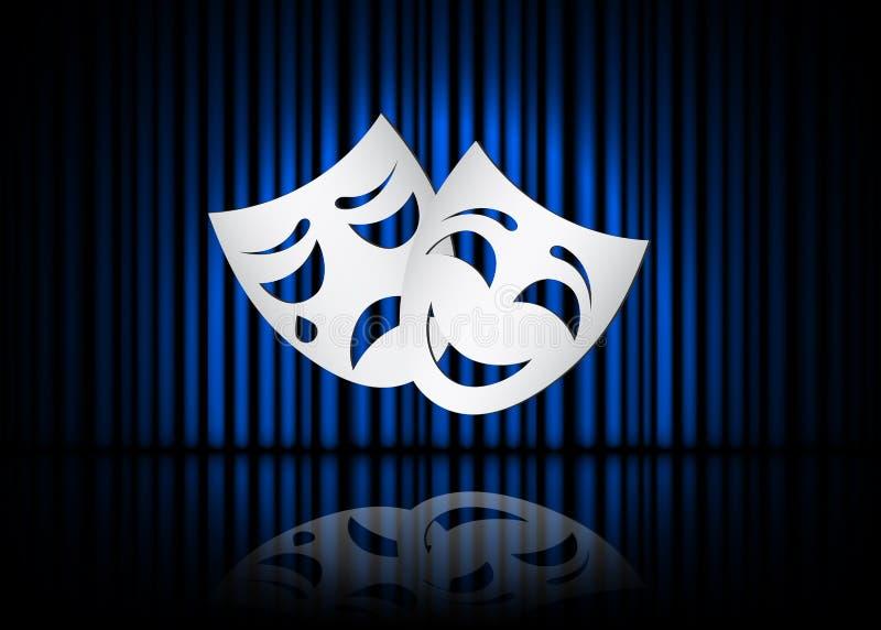Masques heureux et tristes de théâtre, scène théâtrale avec les rideaux bleus et réflexion Illustration courante de vecteur illustration stock