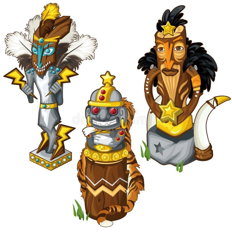 Masques indiens de totem de loup, de tigre et d'aigle Vecteur illustration libre de droits