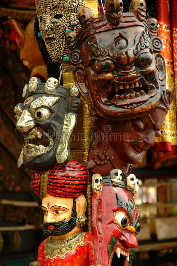 Masques traditionnels décoratifs photos libres de droits