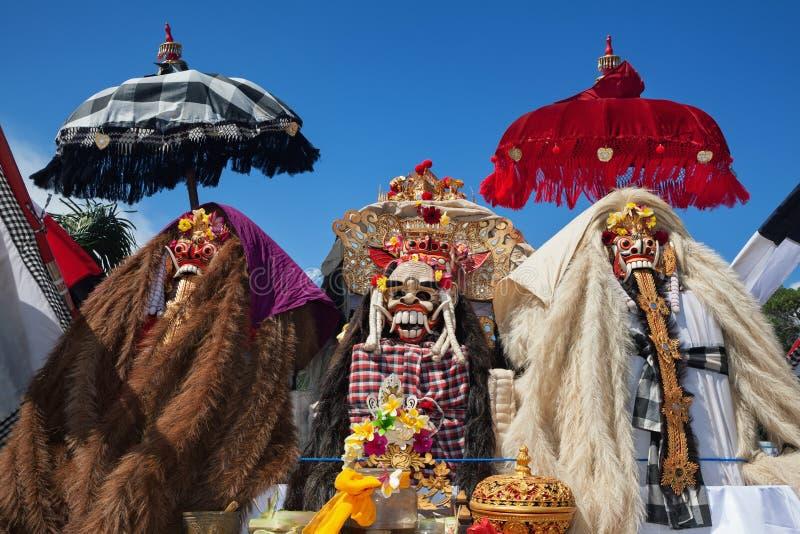 Masques traditionnels de Balinese Barong et de Rngda image stock