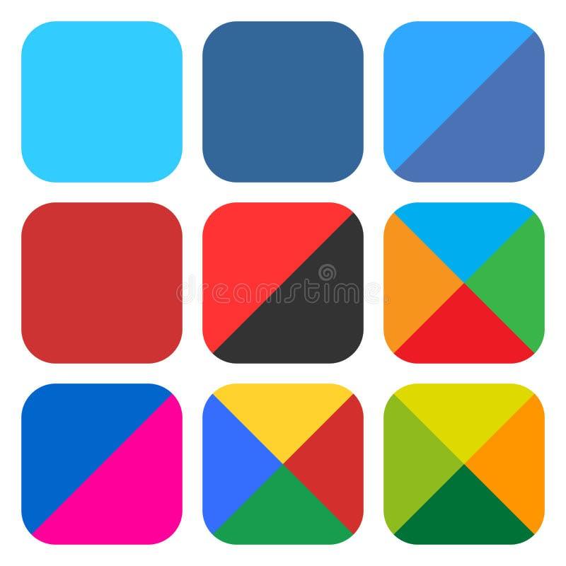 Masquez à plat le bouton réglé arrondi de Web d'icône carrée photo stock