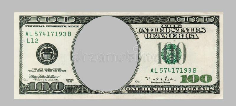 Masquez cents billets de banque du dollar avec la CORRECTION de DÉCOUPAGE image libre de droits