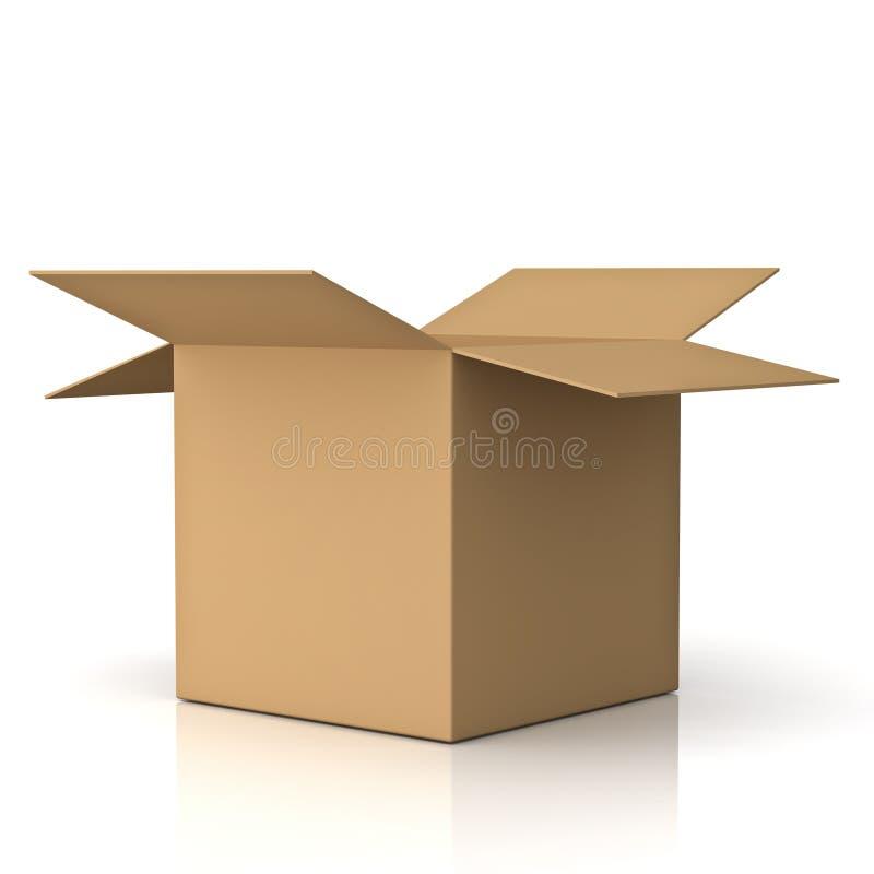 Masquez la boîte en carton ouverte au-dessus du blanc illustration stock