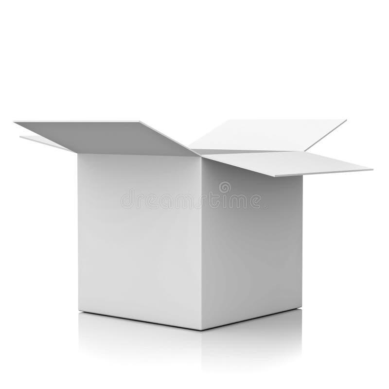 Masquez la boîte en carton ouverte au-dessus du fond blanc illustration stock