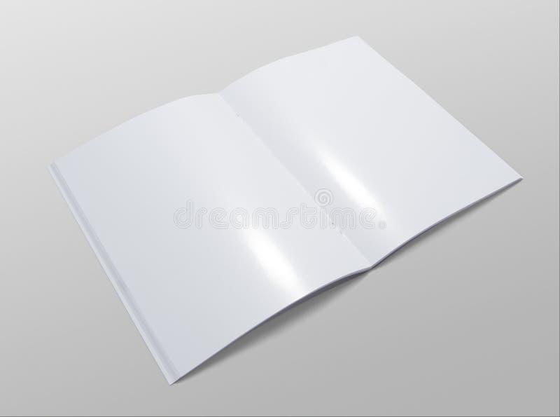 Masquez la brochure ouverte sur le fond gris image stock