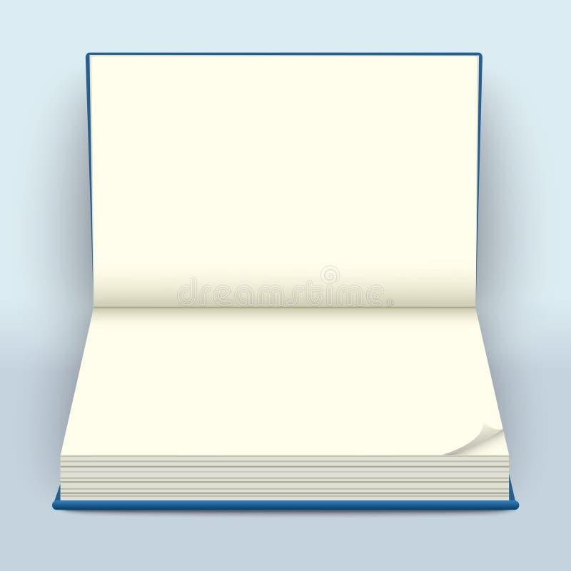 Masquez la maquette ouverte de livre de livre à couverture dure Carnet vide répandu avec les FO illustration stock