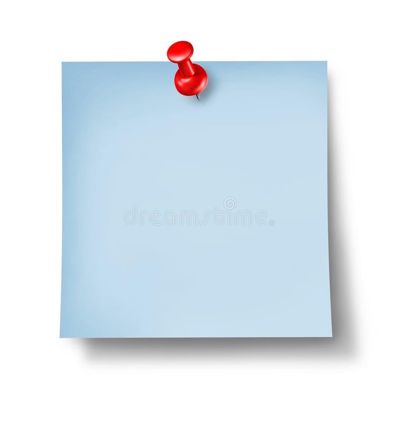 Masquez la note bleue de bureau illustration stock
