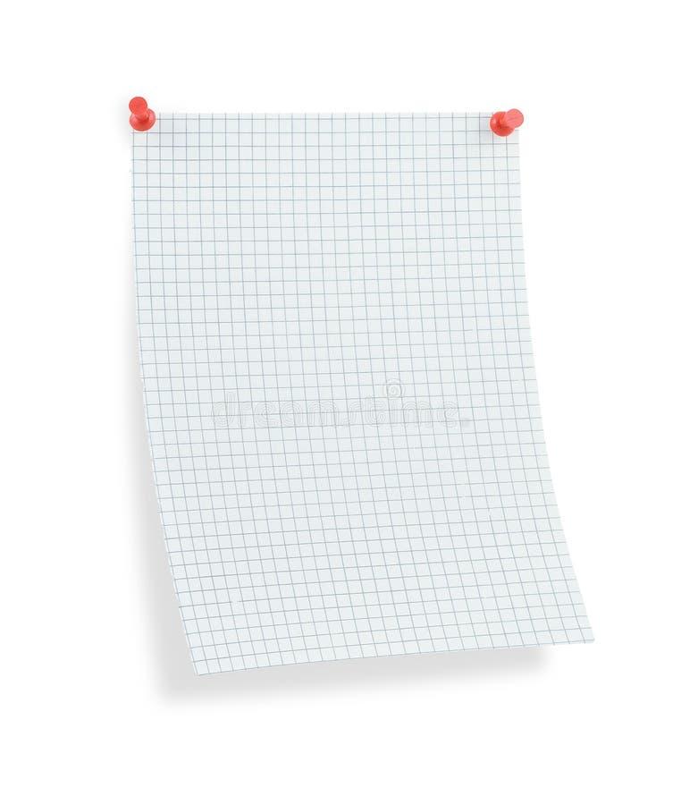 Masquez la page thumbtacked de papier carré avec l'ombre photos libres de droits